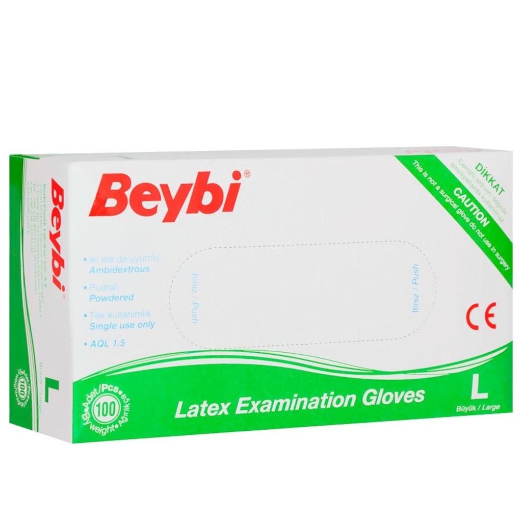 77259084 - Beybi 23.07000 Large Lateks Pudralı Muayene Eldiveni 100'lü - n11pro.com