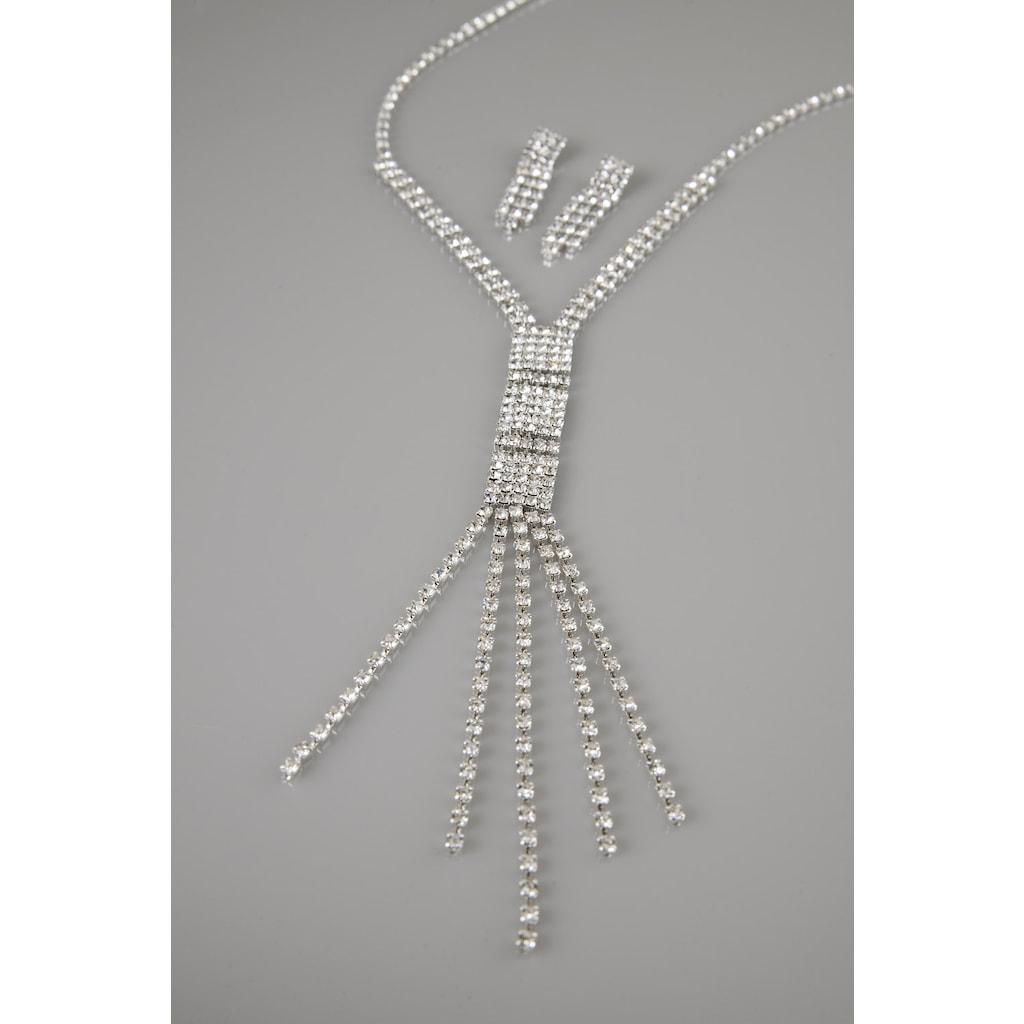61909030 - FSG Takı Gümüş Kaplama Kristal Taşlı Gerdanlık 5 Sarkıntı - n11pro.com