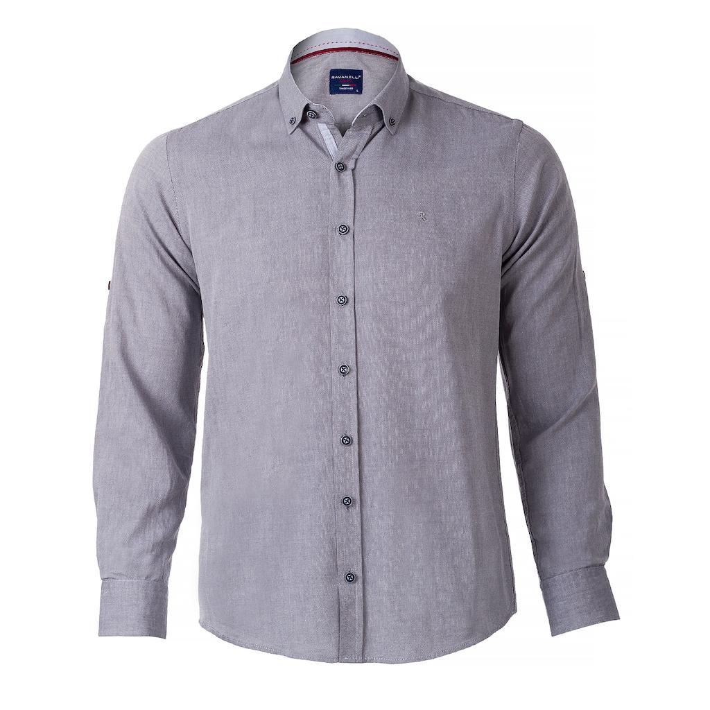 09621885 - Ravanelli Cotton Gabardin Easy-Iron Fit Erkek Gömlek Gri Asorti - n11pro.com