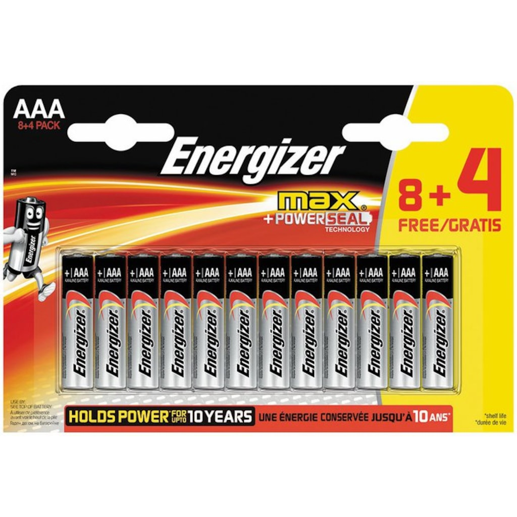 99999082 - Energizer Max Alkaline AAA İnce Pil 8+4'lü - n11pro.com