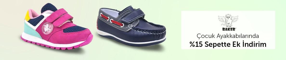 Raker Markalı Çocuk Ayakkabılarında %15 Sepette İndirim