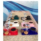 6 lı porselen parlak renk kare tabaklı kahve takımı