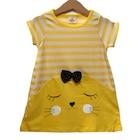 Kız Çocuk 1-4 Yaş Çizgili Renkli Elbise