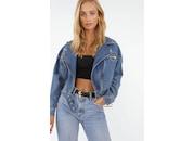 Mavi Fermuarlı Trend Bayan Kot Ceket