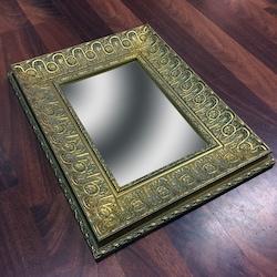 Altın Varaklı Ahşap Çerçeveli Ayna