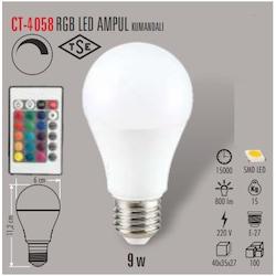 CT-4058 9W/2700K RGB AMPUL (KUMANDALI) CATA