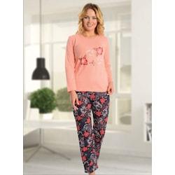 Kadın Uzun Kollu Pamuk Pijama Takımı Üst Pembe Çiçekli Alt Desenl