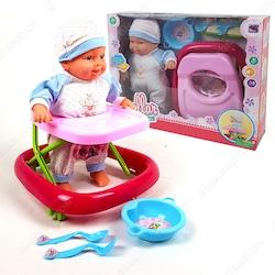 Yürüteçli Hareket Eden Konuşan Oyuncak Bebek 33cm Pilli PC194