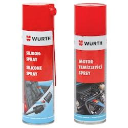 Würth Motor Temizleyici Sprey 500 ml + Silikon Sprey 500 ml