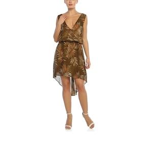 Obirtrend 3095 - Kahverengi Palmiye Desenli Dekolteki V Yaka Elbise