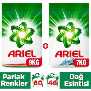 Ariel Çamaşır Deterjanı Parlak Renkler 9 Kg + Dağ Esintisi 7 Kg