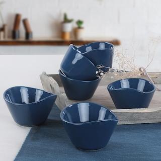 Keramika İndigo Mavi Tigela Çerezlik/Sosluk 11 Cm 6 Adet