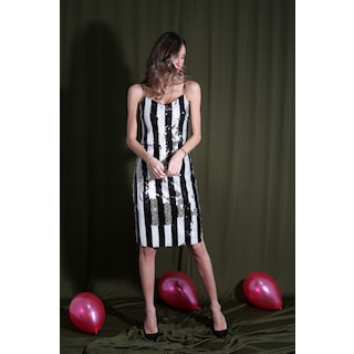 Siyah-Beyaz Askılı Payetli Şeritli Elbise