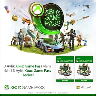 Xbox Game Pass 3 Ay Alana + Xbox Game Pass 3 Ay Hediye!