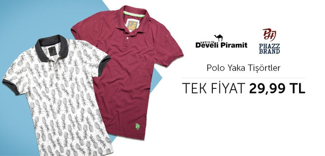 Develi Piramit Polo Yaka Tişörtler Tek Fiyat 29,99 TL
