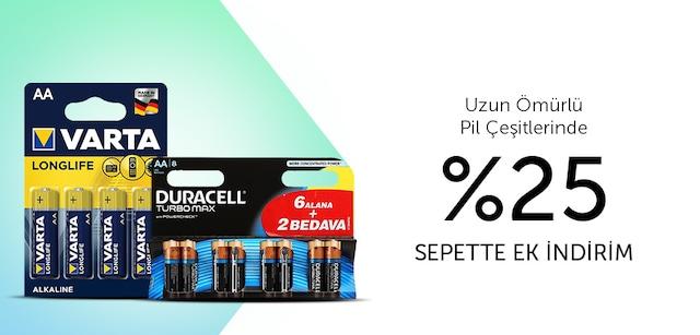 Uzun Ömürlü Pil Çeşitlerinde %25 Sepette Ek İndirim - n11.com