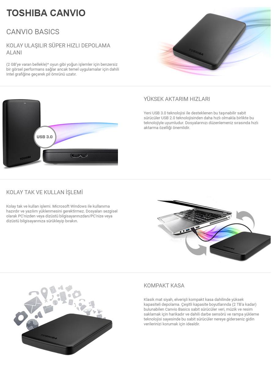 Toshiba Canvio Basics 2 TB 2.5 USB 3.0 Taşınabilir Disk