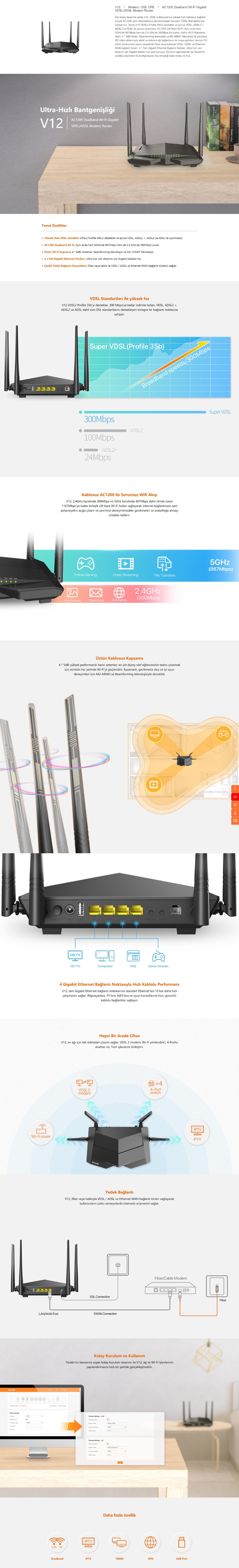 Tenda V12 1200 Mbps 4 Port 5 GHz VDSL2/ADSL2+ Modem