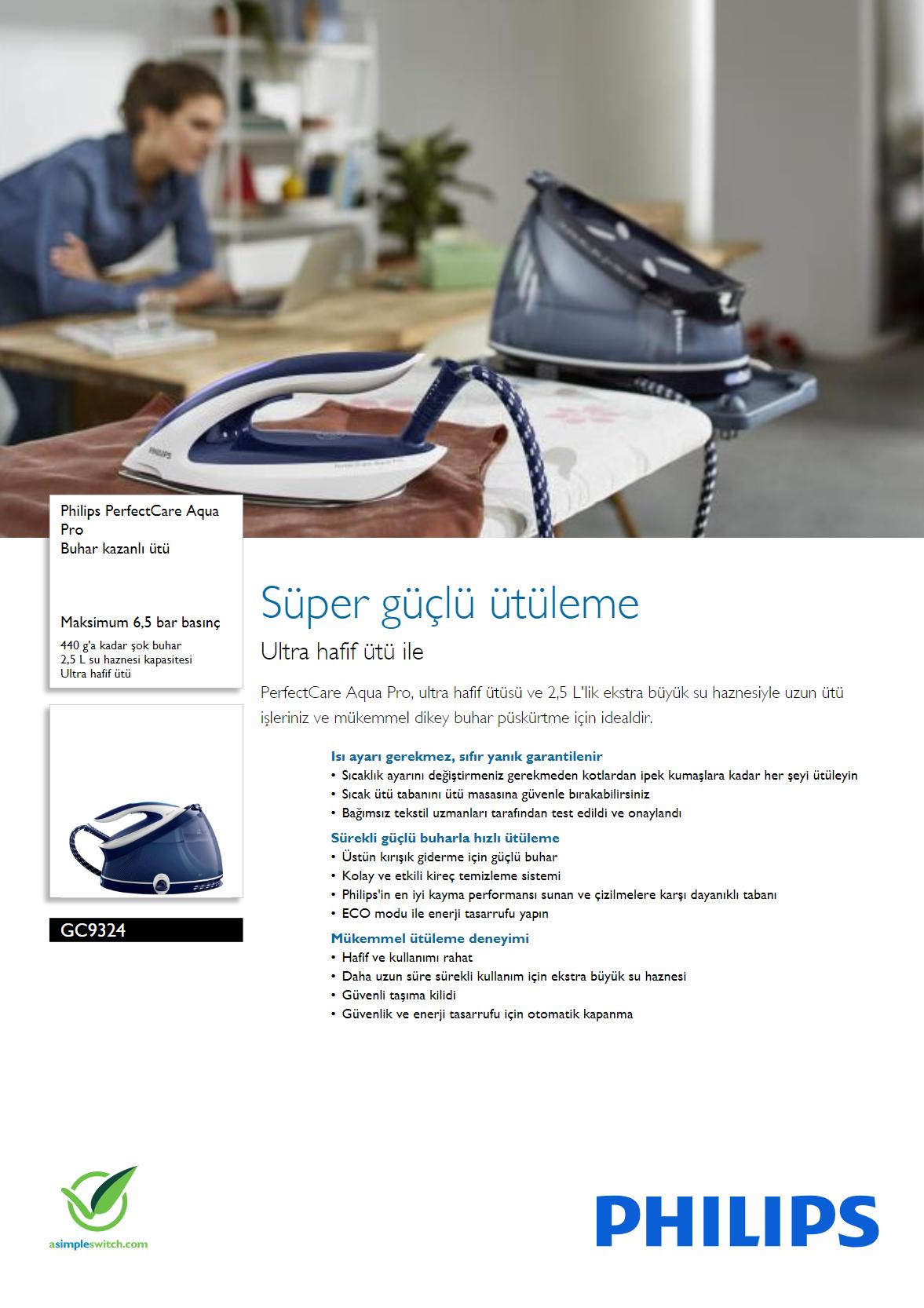 Philips GC9324/20 Perfect Care Aqua Pro Buhar Kazanlı Ütü