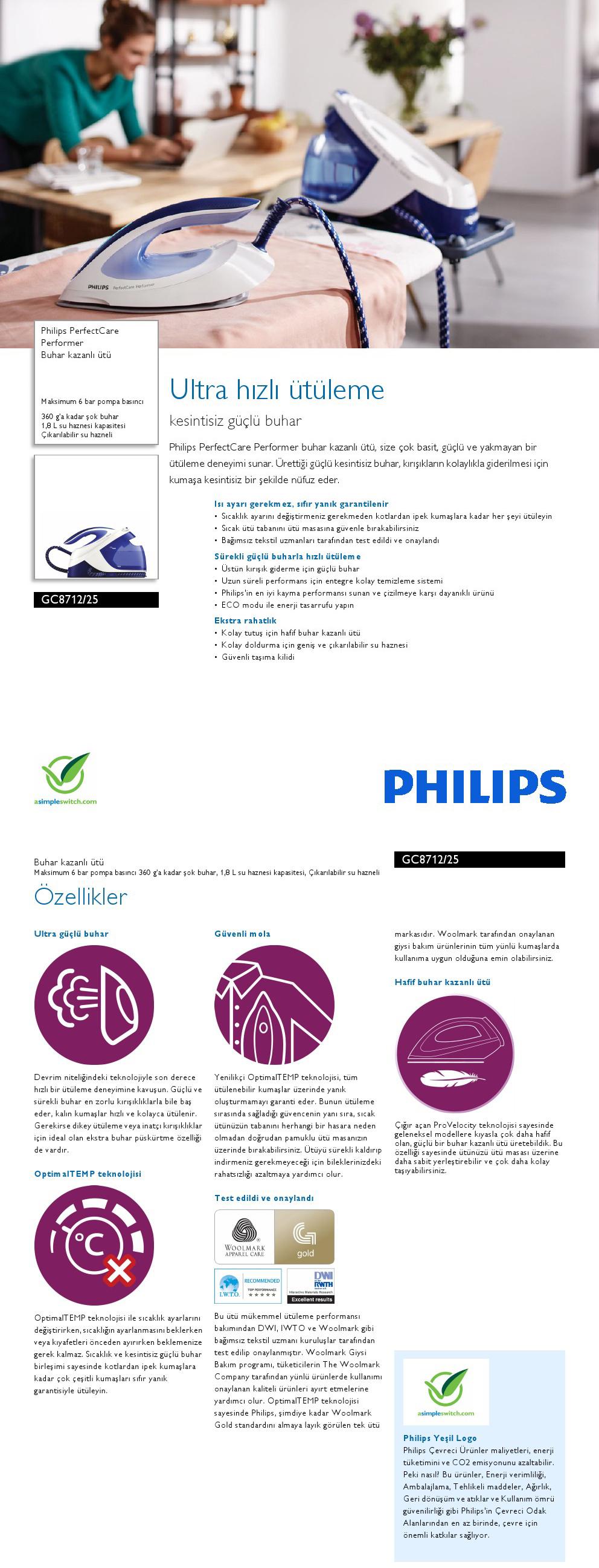 Philips GC871225 PerfectCare Performer 2600 W Buhar Kazanlı Ütü