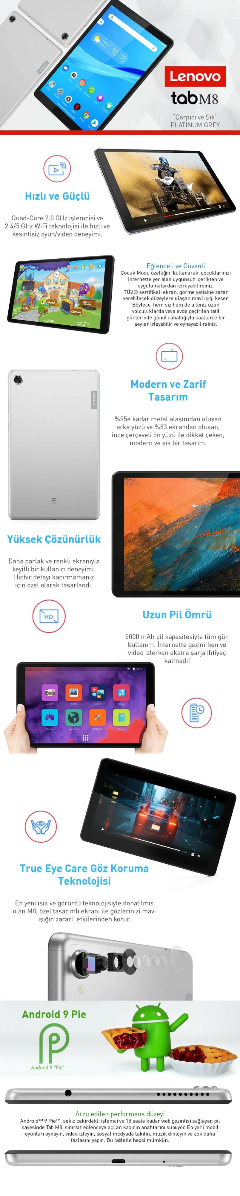 Lenovo Tab M8 ZA5G0100TR TB-8505F 2 GB 32 GB 8 Tablet