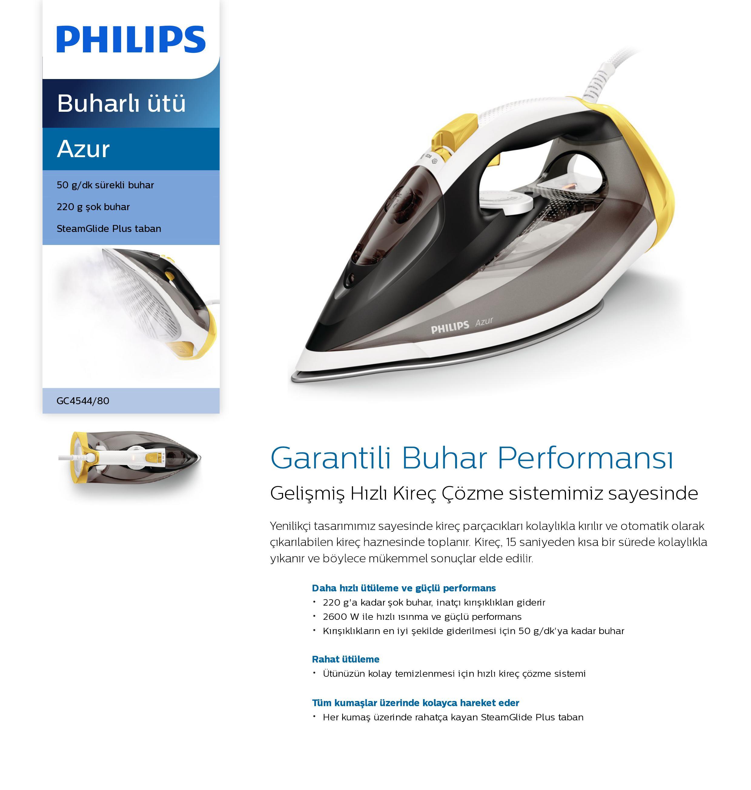 Philips GC4544/80 Azur 2600 W Buharlı Ütü