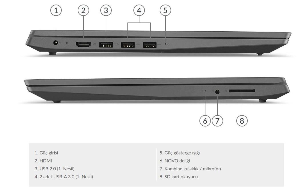 LENOVO V15 amd 3020e freedos 15.6 FHD taşınabilir dizüstü bilgisayar laptop notebook bağlantı noktaları ve yuvalar