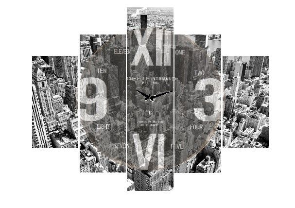 5 Parçalı Saatli Tablo Dikey,150 X 80 Cm