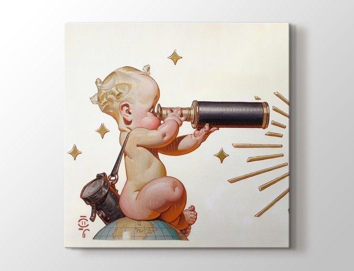 Joseph Christian Leyendecker - Retro Telescope Baby Tablo