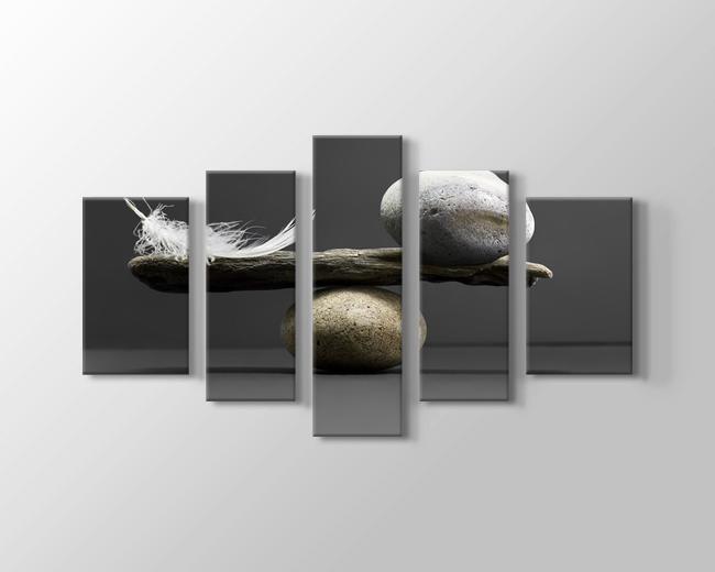 Taş Ve Tüy Dengesi 5 Parçalı Tablo Yatay,150 X 80 Cm