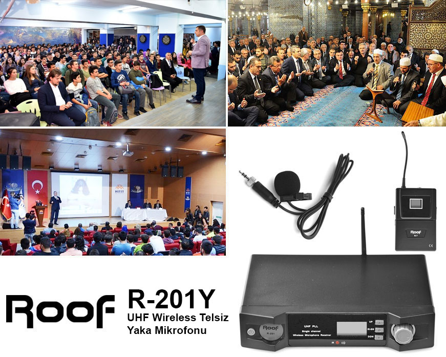 Roof R-201Y UHF Wireless Telsiz Yaka Mikrofonu